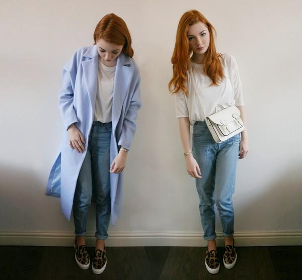 hannah louise fashion coat t-shirt bag jeans shoes