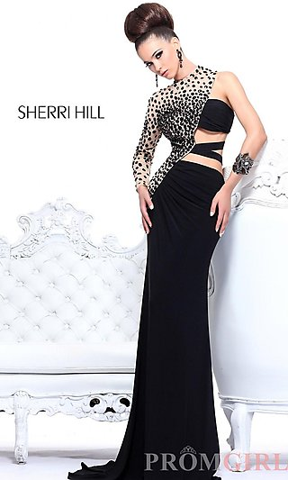 Sherri Hill One Sleeve Prom Dresses, Cut Out Prom Gowns- PromGirl