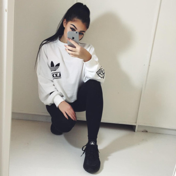 sweater,adidas,leggings,tumblr,black,white,adidas sweater,sweatshirt,jumper,shirt,black and white,baggy,oversized sweater,baggy jumper,white jumper,white sweater,oversized,oversized white sweater,dope oversized sweater,swag,huarache,top,pullover,shoes,black shoes,sport shoes,adidas sweats,branded,cute,cute top,cute sweaters,aesthetic,tumblr outfit,tumblr girl,tumblr sweater,ootd,white top,jeans,skinny jeans,black jeans,photography,baddies,grunge,sporty,selfie,eye makeup,eyebrows,details on fleek,on fleek sweater,phone,iphone,hair,hairstyles,earrings,ear cuff,ear piercings,minimalist jewelry,nails,fake nails,acrylic nails,metallic nails,stiletto nails,grey fabric,pull,hoodie,girl,postbad,adidas white jumper sweatshirt,style,addidas shirt,adidas originals,berlin trefoil,madeline mercedes,pinterest outfit,nike,sportswear