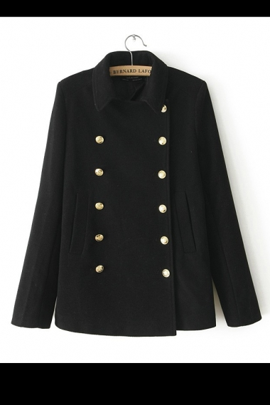 Black Double-breasted Nylon Coats Outwear