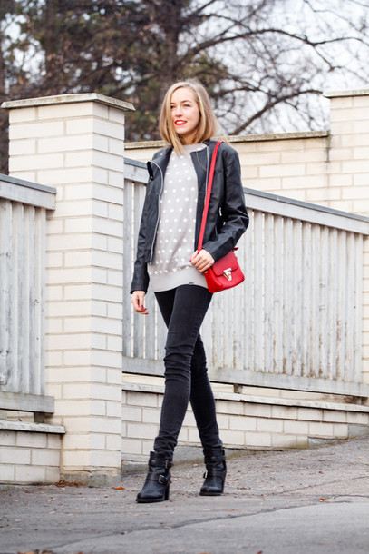 a cup of style blogger make-up red bag polka dots sweater jacket jeans shoes bag