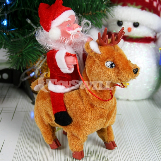 Santa Claus and Reindeer Toy with Sound: Lovely Santa Claus with Hat Toy