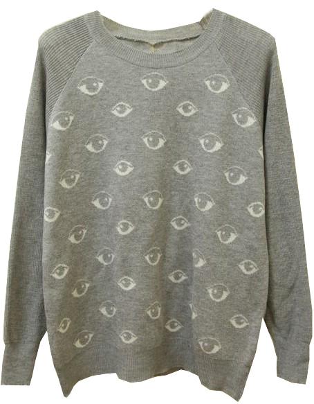 Grey Long Sleeve Eyes Pattern Knit Sweater - Sheinside.com