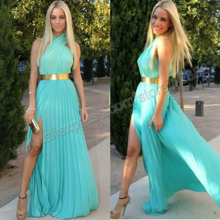 Turquoise Chiffon With Gold Belt Prom Dress 2014 New Arrival Free Shipping Halter With Sexy Slit Party Gown-in Prom Dresses from Apparel & Accessories on Aliexpress.com