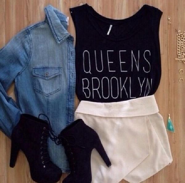 shoes black high heels boots shirt jacket skirt