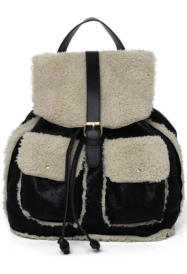 bag faux shearing backpack