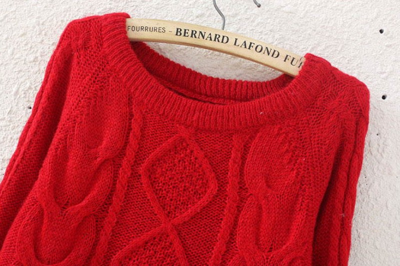 Red Long Sleeve Diamond Patterned Knit Sweater - Sheinside.com