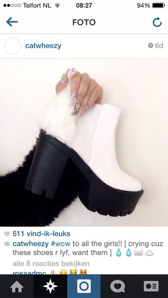shoes chuckyboots fur chunky boots heels