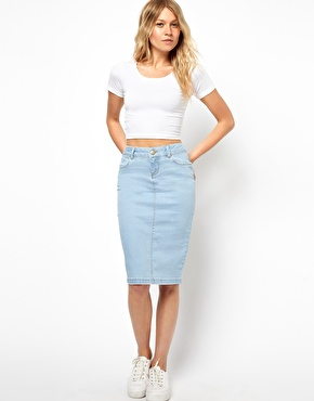 ASOS | ASOS Ultra Denim Pencil Skirt in Vintage Wash at ASOS
