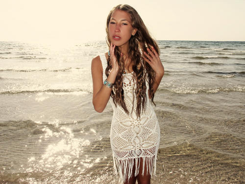 emmaoclothing - Handmade crochet fringe dress WHITE