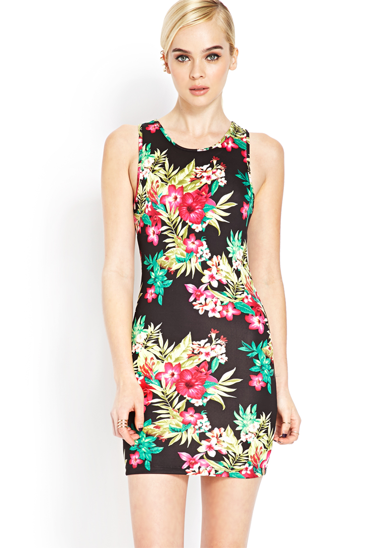 Tropical Floral Bodycon Dress | FOREVER21 - 2000105640