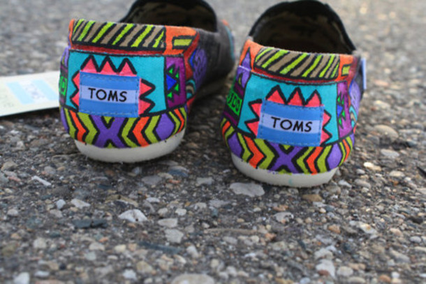 shoes design indian blue green orange toms cute flats colorful aztec tribal pattern