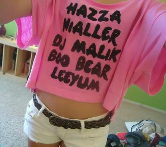 shirt one direction shorts belt boo bear louis niall zayn malik harry liam pink black hazza nialler dj malik leeyum t-shirt