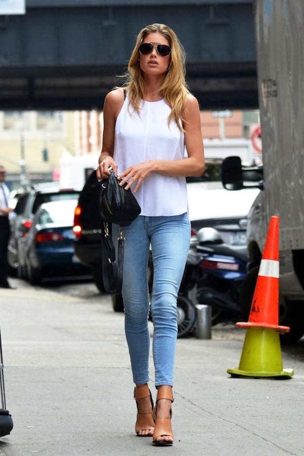 le fashion image sunglasses tank top bag leggings shoes jeans