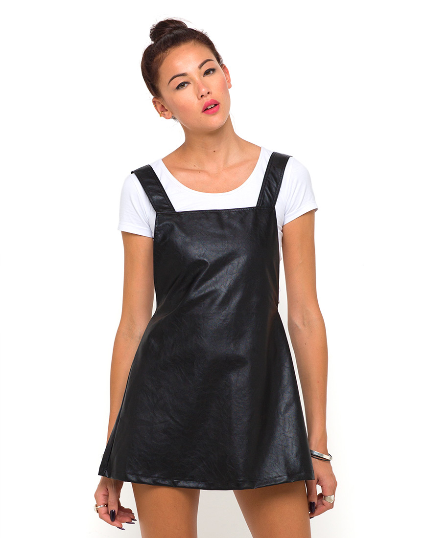 Buy Motel Macaw Pinafore Dress in Black Faux Leather at Motel Rocks