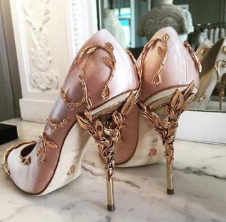 shoes wedding shoes pink gold cute pretty high heels stilettos nude heels pink heel gold design details antique style vintage high heel pumps pumps dope tumblr party shoes rose gold rose gold pink god