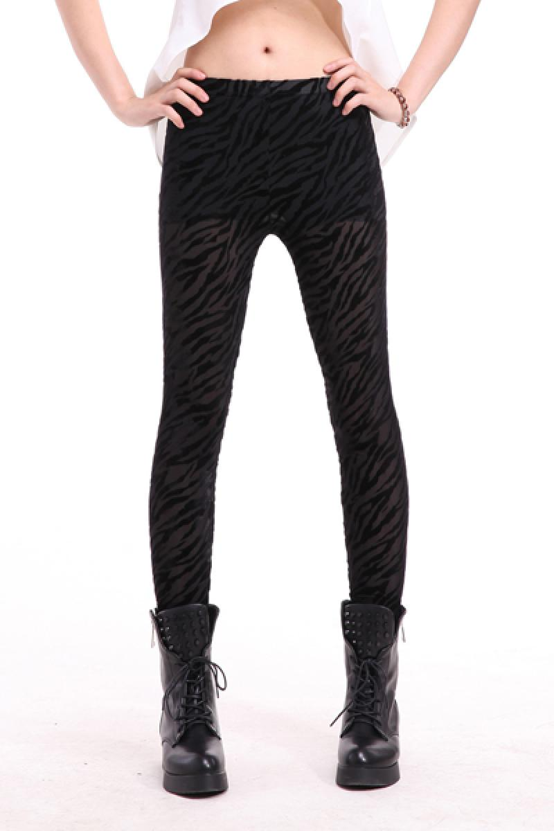 Zebra Stripes Peluche Velvet Personality Printed Skinny Leggings,Cheap in Wendybox.com