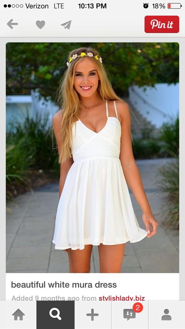 dress white short mini summer