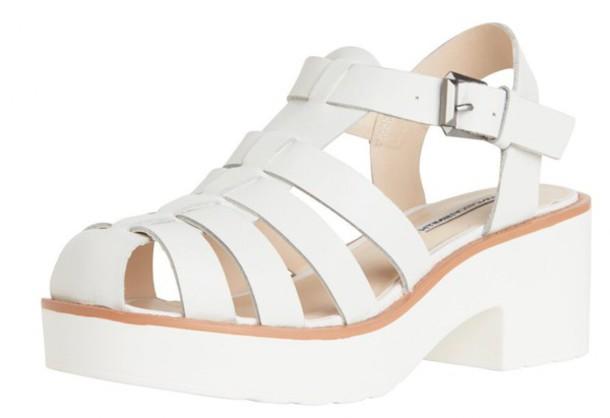 shoes white sandal heels sandals chunky sole chunky heels