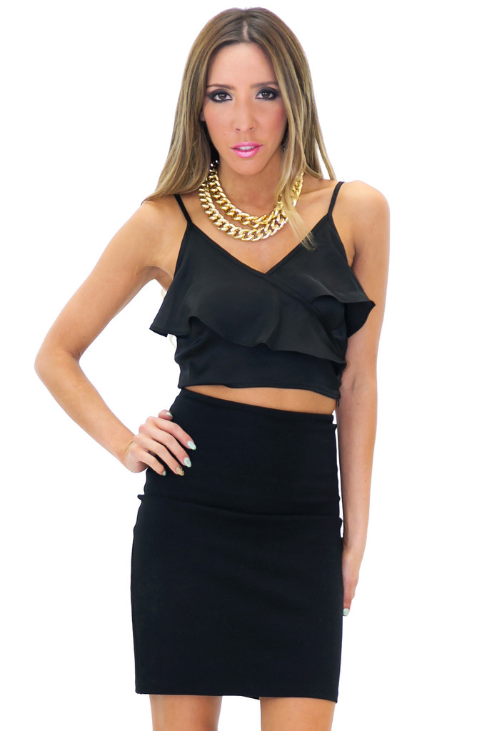 SATIN RUFFLE CROP TOP | Haute & Rebellious