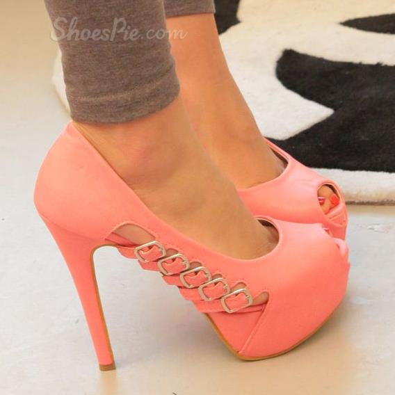 Noble Pink Coppy Leather Peep Toe Platform High Heel Shoes