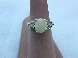 Vintage Women's 14k White Gold with Opal Diamonds Ring Size 6 3 4 | eBay