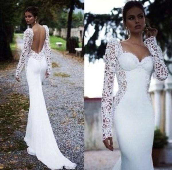 dress white dress prom dress long prom dress wedding dress open back long sleeve dress dressy wedding clothes