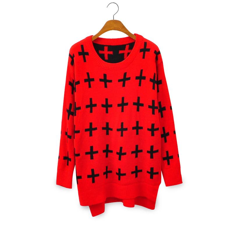 2013 Winter New Black Red Color Block Vintage O neck HARAJUKU Cross Sweater Pullover-inPullovers from Apparel & Accessories on Aliexpress.com