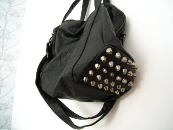 bag black studded studs silver leather studded bag