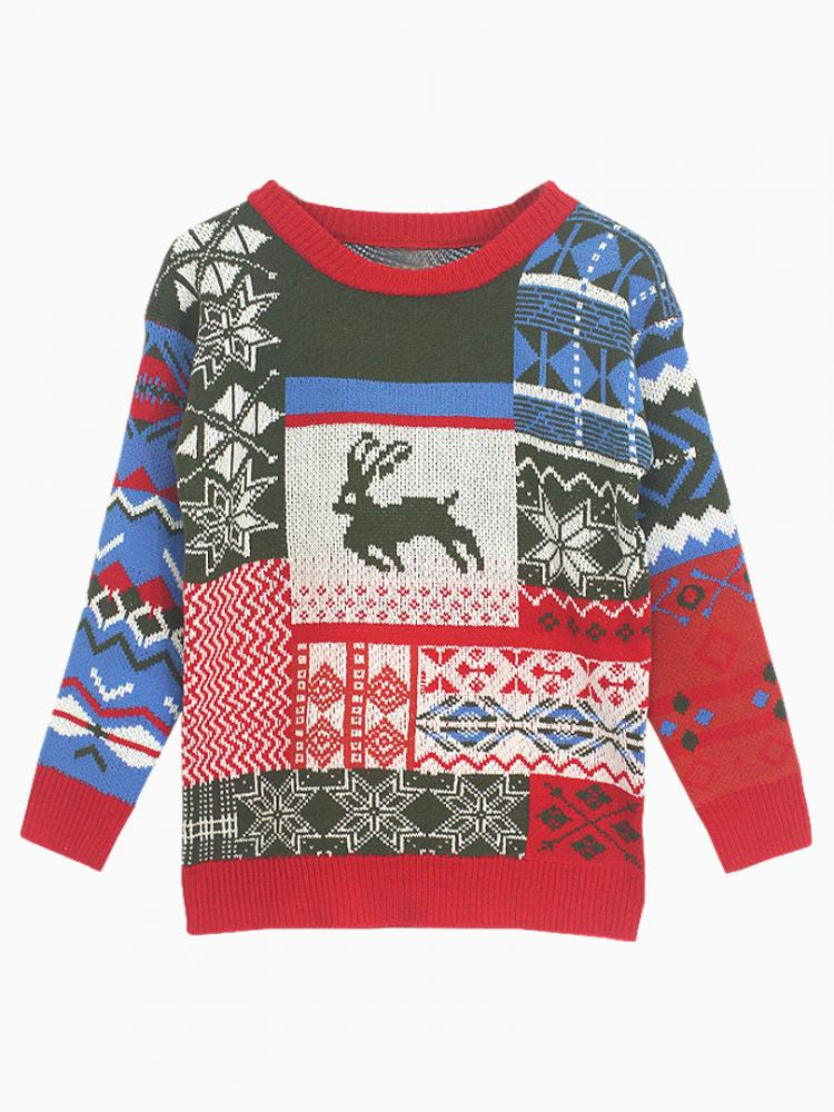 Snowflake and Deer Sweater in Green | Choies