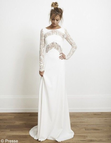 dress white maxi lace sleeves