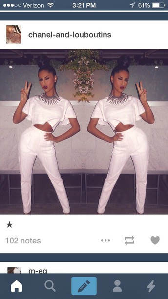 jumpsuit style fashion swag white t-shirt shirt crop tops pants