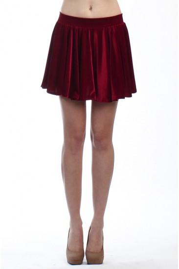 LoveMelrose.com From Harry & Molly | VELVET SKATER SKIRT BURGUNDY