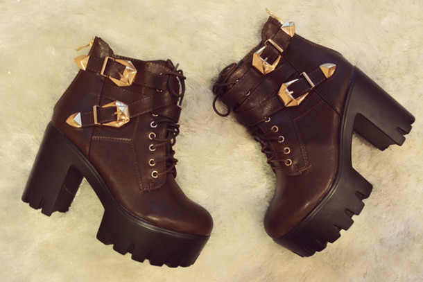 shoes boots jefrey winter boots platform shoes lace up high heels women punk rock winter swag