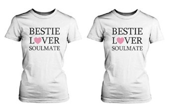 Amazon.com: Best Friend Shirts - Bestie, Lover, Soulmate Matching White T-Shirts: Clothing