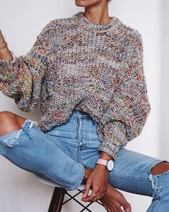 sweater tumblr printed sweater multicolor oversized sweater oversized denim jeans blue jeans ripped jeans watch