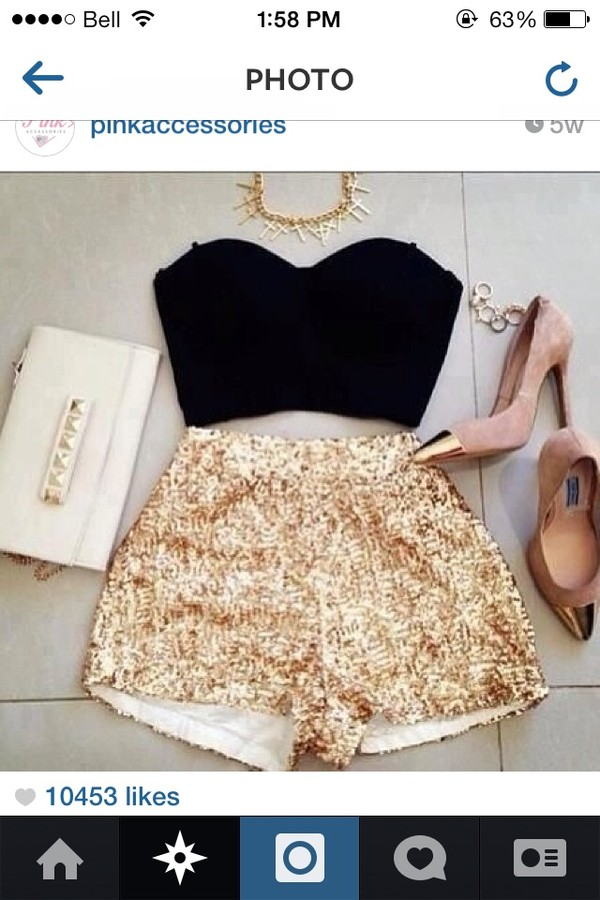 shorts jewels blouse gold sequins gold High waisted shorts