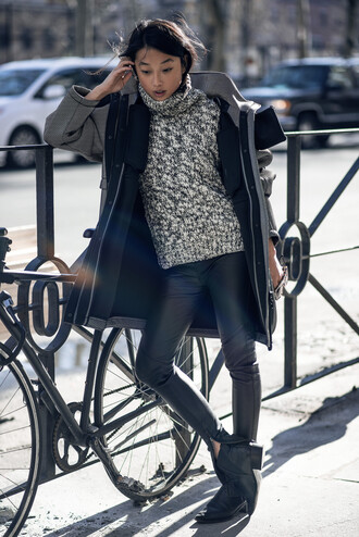 shine by three blogger winter sweater turtleneck grey coat winter coat coat pants jacket sweater leggings shoes sunglasses gloves