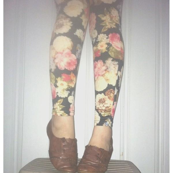 pants floral vintage roses black leggings stretch