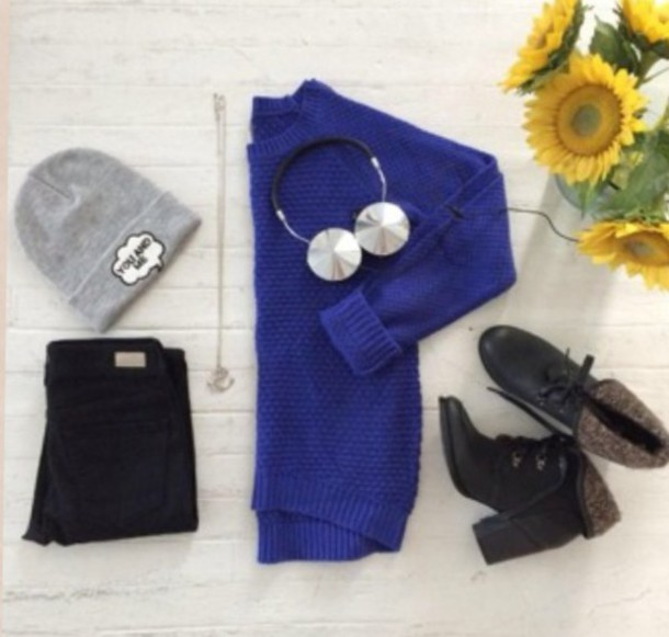 sweater shoes jeans hat