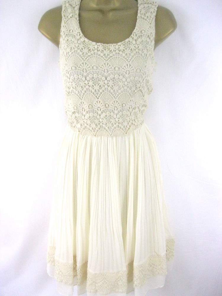 Yumi UK 10 'Lacey' Dress Cream Crochet Top Pleated Skirt Gorgeous Detail | eBay