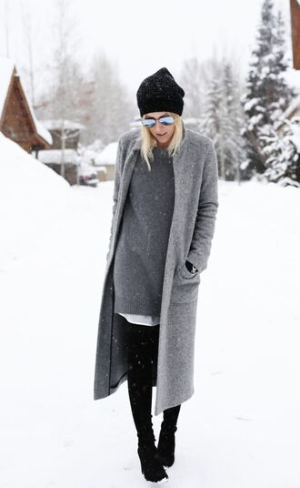 damsel in dior sweater dress long coat grey coat mirrored sunglasses winter outfits blouse sweater dress coat shoes gloves tights hat opaque tights grey long coat