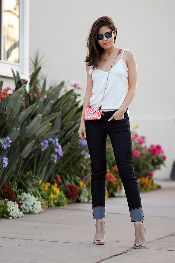 fake leather jeans shoes sunglasses tank top top