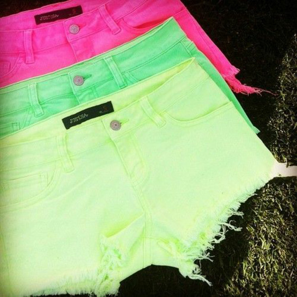 shorts neon pink green yellow cool gorgeous shorts wow