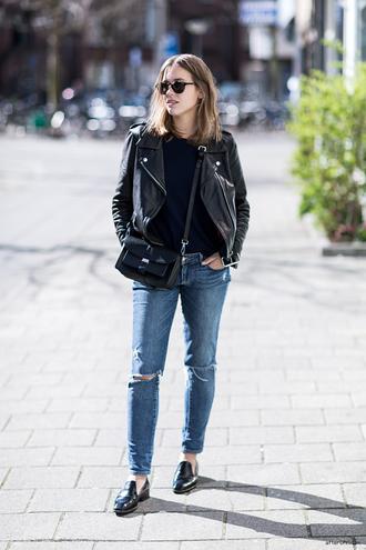 after drk jacket sweater jeans shoes bag sunglasses