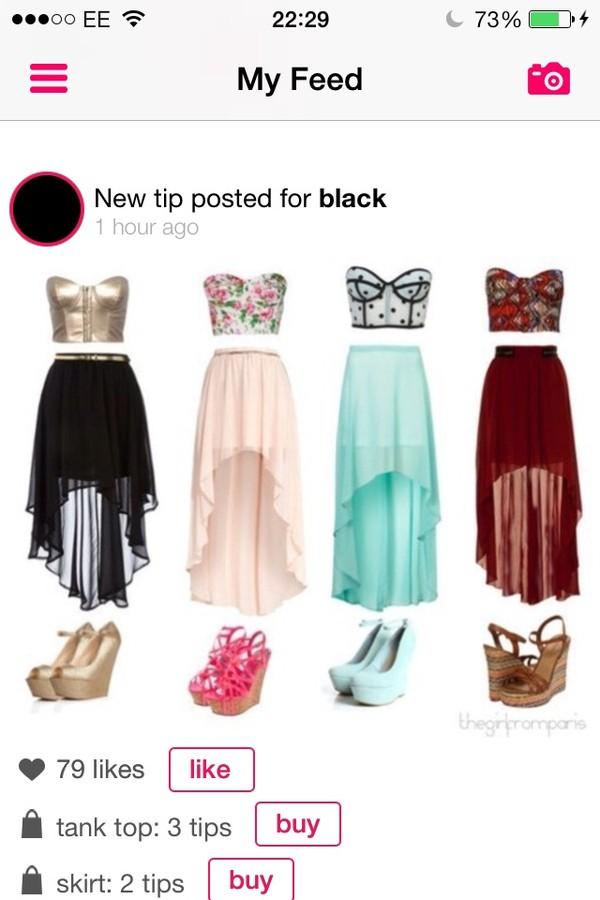 shoes t-shirt skirt