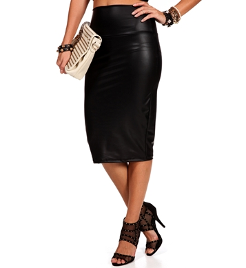 Black High Waist Faux Leather Skirt