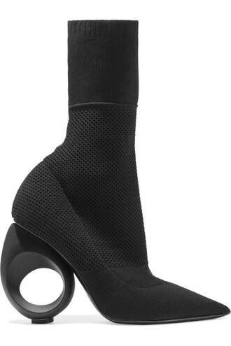 knit boots black shoes