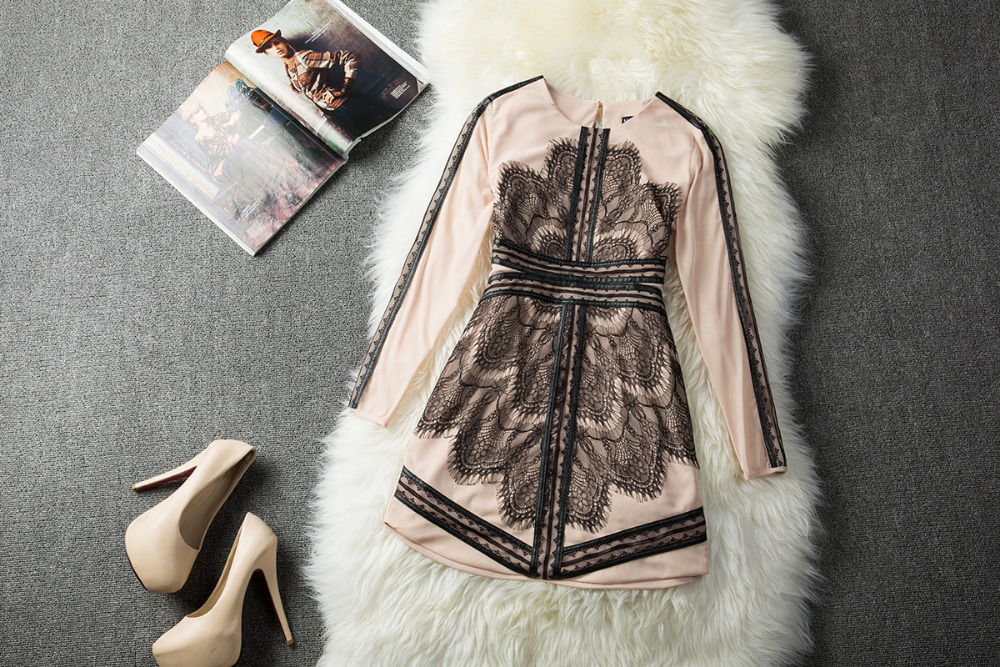 Top Quality Women Brand Designer Dress 2014 New Fashion Autumn Summer Black Lace Long Sleeve Dresses-in Dresses from Apparel & Accessories on Aliexpress.com