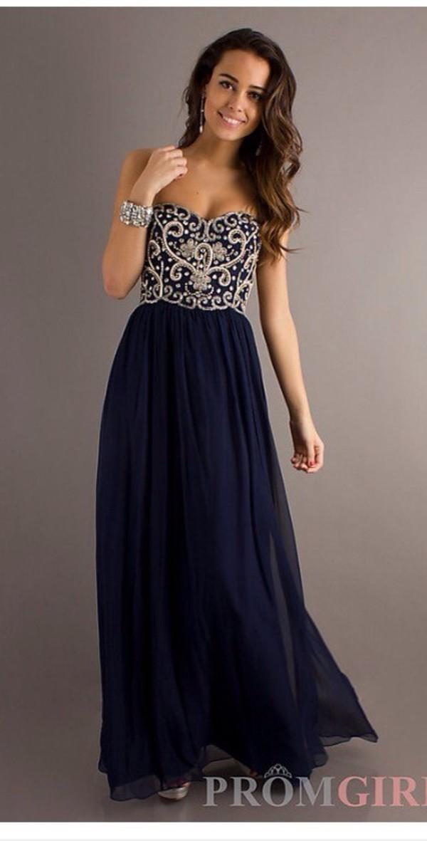dress maxi dress prom dress navy long prom dress